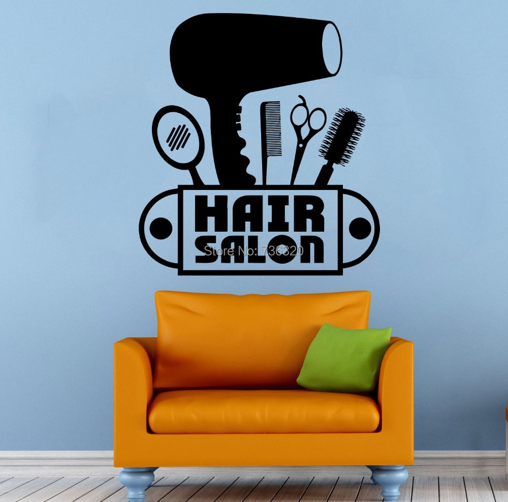Hair Salon Wall Decal Vinyl Sticker Beauty Barber Shop Hairdryer Scissors Comb Window Glass Decoration - 365DAYS SWEET HOME (HOME Artist-Vicky Li store)