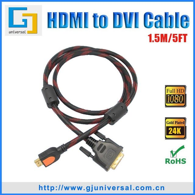 Free Shipping 1.5M 5FT HDMI Male to DVI 24+1 Male Cable, HDMI - DVI-D Cable, For HDTV PC Monitor LCD,HDMI065-1.5