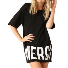 Summer Dress 2016 Active Sport Women Dresses with Letter Print Eliacher Brand Plus Size Casual Women Clothing T-shirt Dresses(China (Mainland))