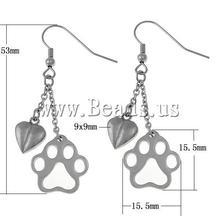 footprint & heart shape Fashion Stainless Steel Drop Earrings(China (Mainland))