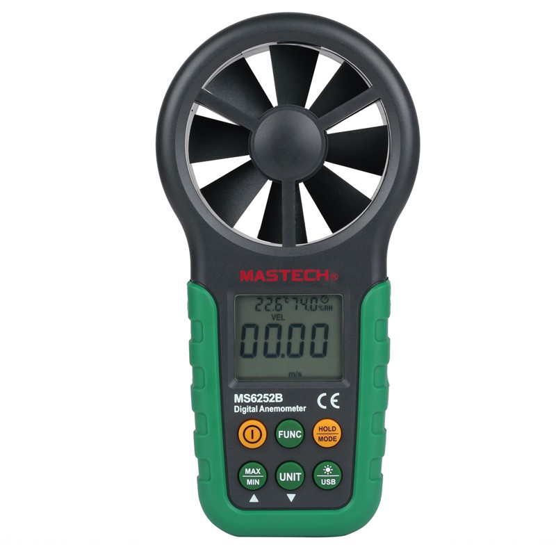 High Quatity MASTECH MS6252B Digital Anemometer Wind Gauge Meter Tester USB Interface with T&RH Sensor(China (Mainland))