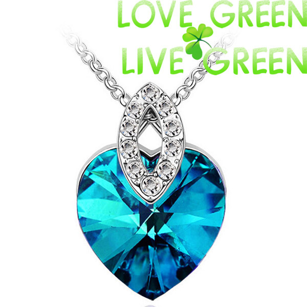 British queen royal party accessories Brand 18KGP Austrian Crystal Heart Pendant Necklace jewelry women bridal wedding 40743(China (Mainland))