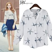 JY.2016New Women Spring Chiffon Shirt Starfish Printed Long Sleeve Female Blouse Plus Size XXL Ladies Tops Femininas Blusas Z