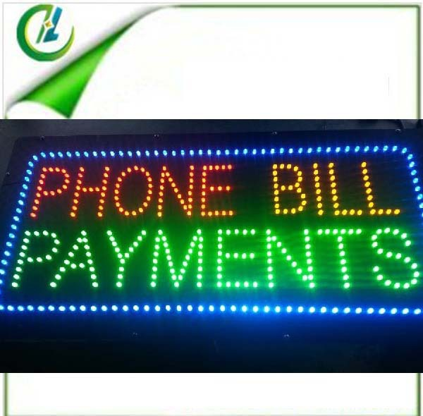 wholesale PHONE BILL PAYMENTS shinning letter store led open sign /DC12V led animated sign /led window sign(China (Mainland))
