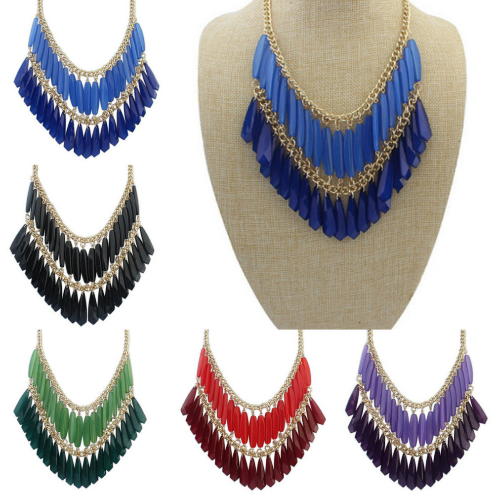 Hot Selling handmade double tassel necklace wholesale simple personality full of personality(China (Mainland))