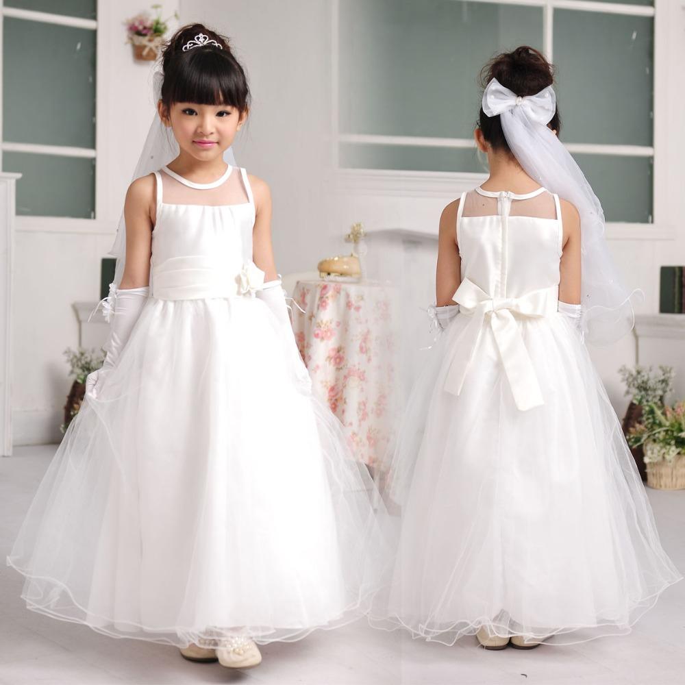 Long Style Flower Girl Dresses Weddings Birthday Elegant Party White Children Dress Girls CD-003 - Baby Kids Paradise store