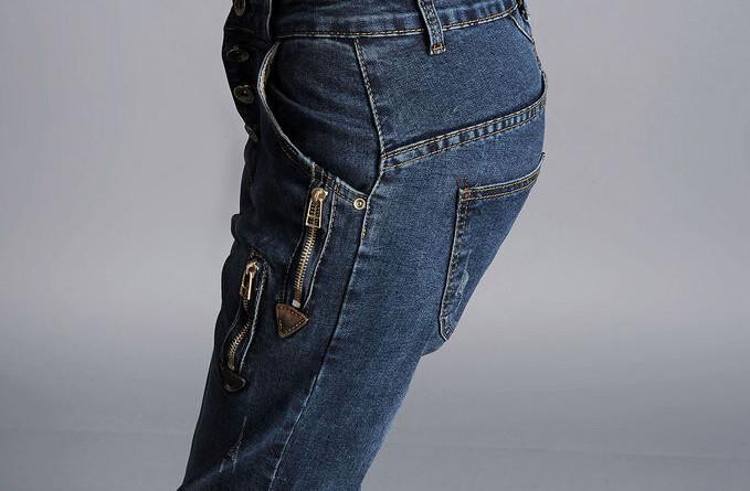 Скидки на Джинсы повседневные брюки для женщин плюс размер шаровары высокая талия кнопка поддельные новорожденных осень весна полная длина ypd0602