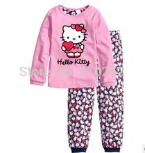 Children Clothing Sets Baby boy's pajamas suits Girls Clothing Sets sleepwear Dora/kitty/pajamas 100% cotton set shirts+trousers(China (Mainland))