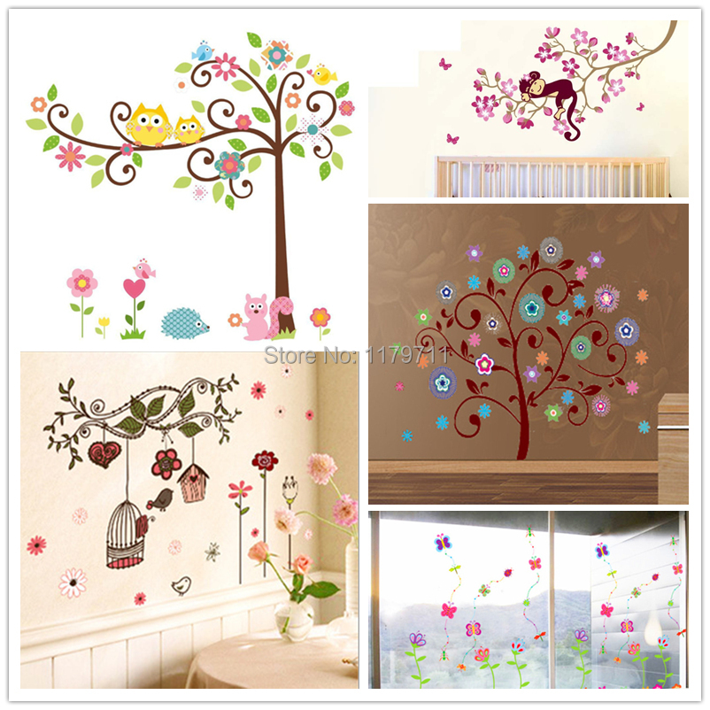 Trees flowers wall sticker child role of children's diy adhesive art mural poster picture removable wallpaper baby room(China (Mainland))