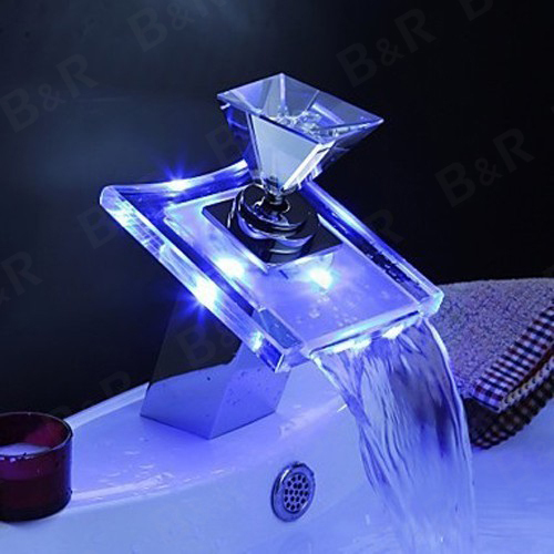 bathroom faucet led grifo torneira levou Free Shipping bathroom faucets crystal handles led water faucet KH-8065(China (Mainland))