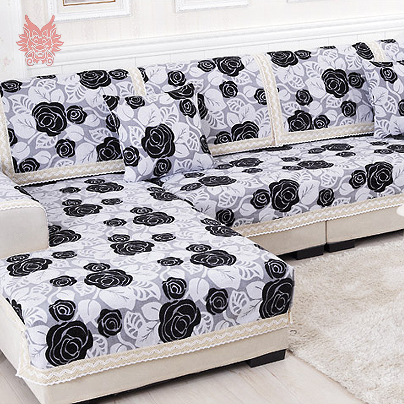 Buy black white floral sofa cover poly for Canape patchwork