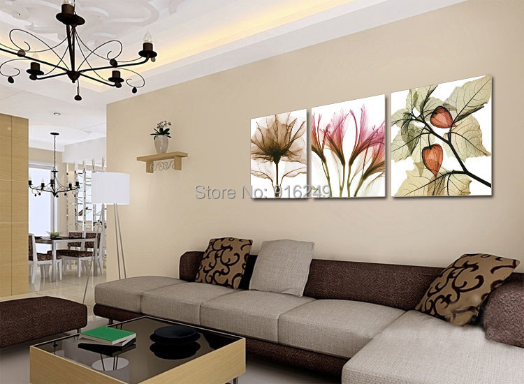 Modern Hot Sell Flower Print Picture on Canvas Large Home Decor Modern Wall Art 3pcs/Set no frame(China (Mainland))