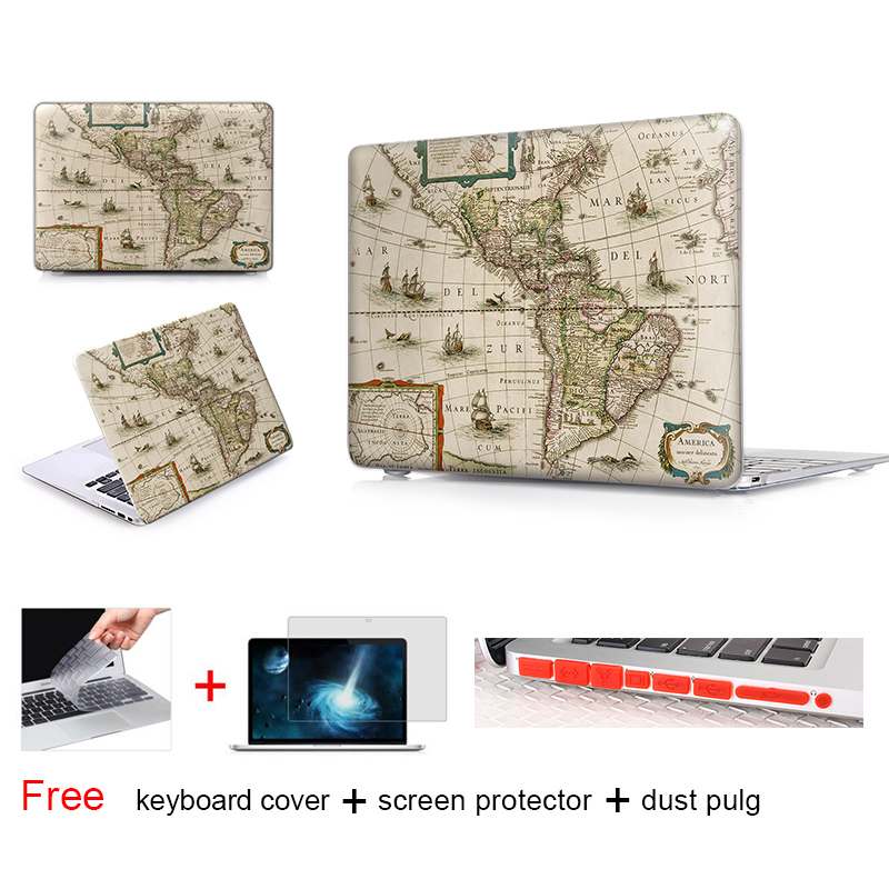 Old Book Macbook Case : Old world map matte hard case for macbook air