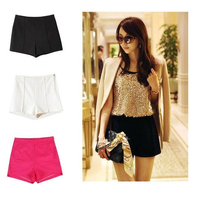 2014 hot sale women free shipping Fashion Women Ladies Side Zip High Waiste Shorts(China (Mainland))