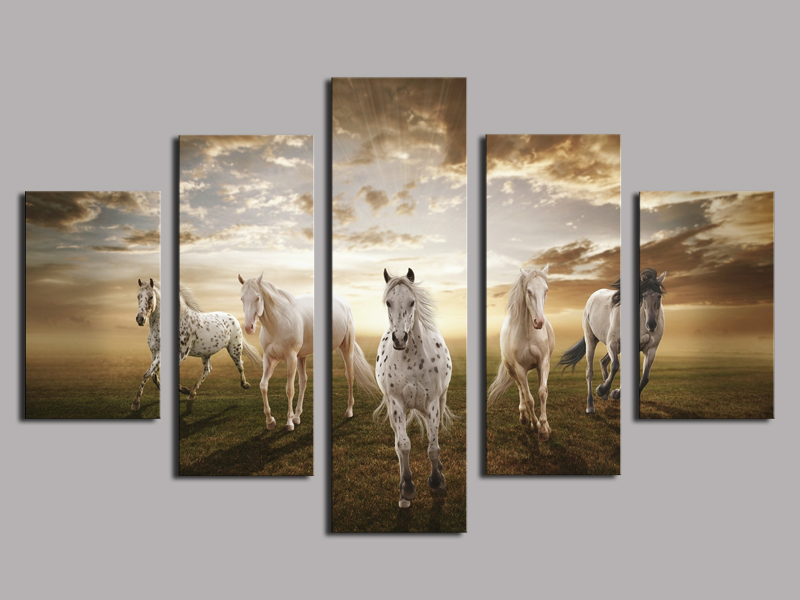 Unframed 5 pcs High Quality Cheap Art Pictures Running Horse Large HD Modern Home Wall Decor Abstract Canvas Print Oil Painting(China (Mainland))