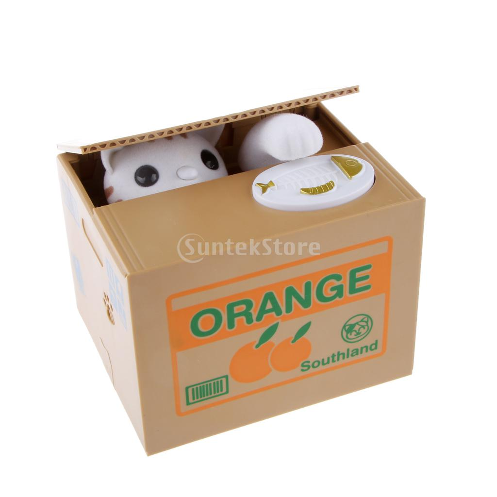 Automated White Kitty Cat Steal Coin Money Box Piggy Bank Kids Gift(China (Mainland))