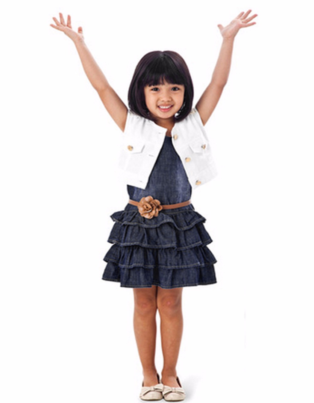 Baby Girl Kids Casual Dress Outfit Clothes Cotton Jacket + Denim Layered Toddler tutu Dress for ...