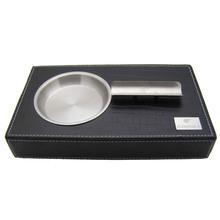 COHIBA Black Leather Stainless Steel Cigar Ashtray(China (Mainland))