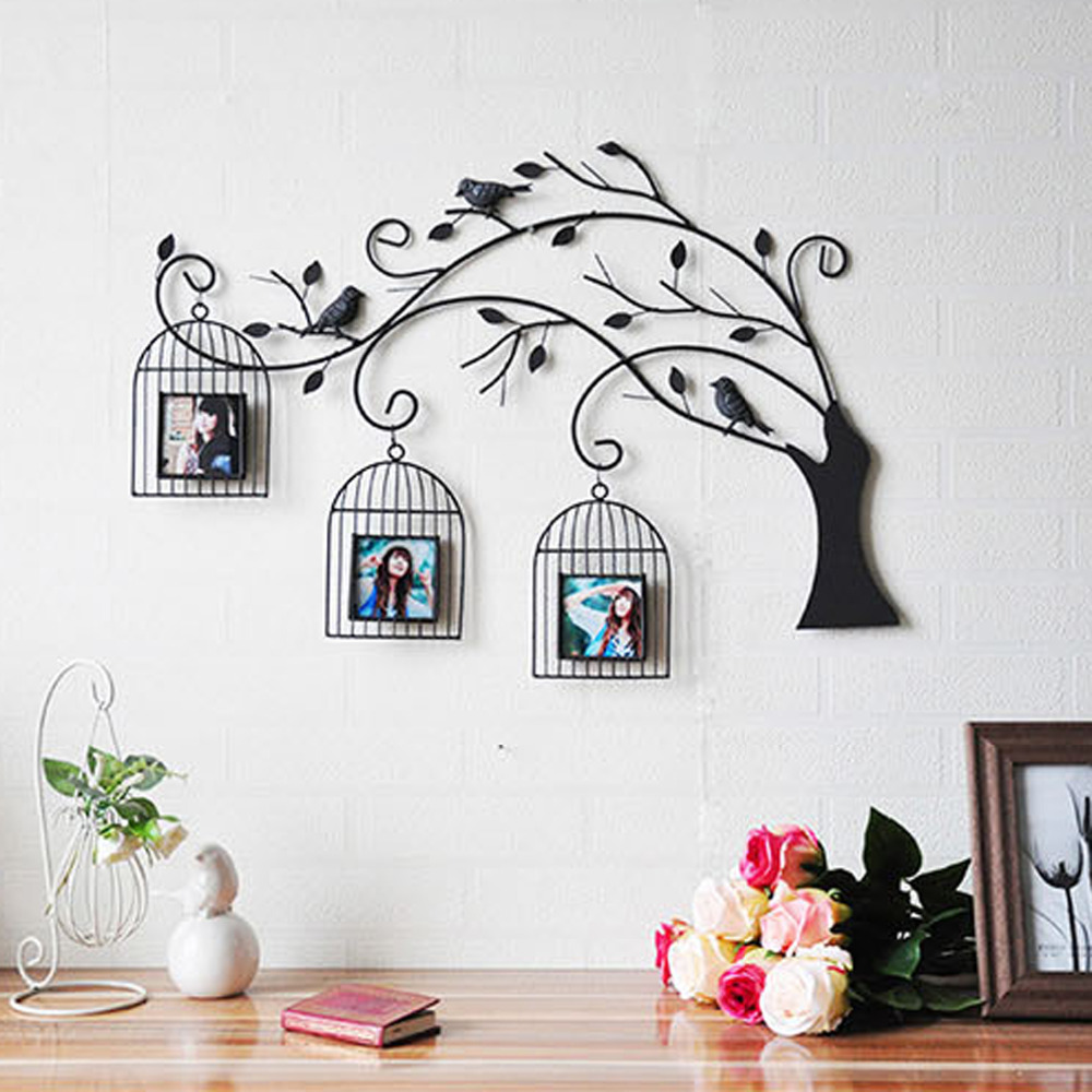 Metal wall art bird cages h wall decal - Como poner fotos en la pared ...