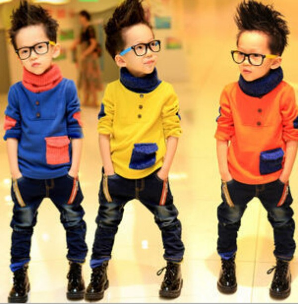 Boys Hoodies Candy Color Fashion Thick Warm Kids Hoodies Turtleneck Wool Patched Boys Long Sleeve T-shirts Winter Tops<br><br>Aliexpress
