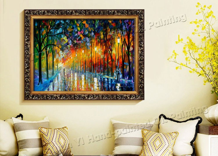 Buy Handpainted Knife Palette Oil Paintings Color Tree Modern Wall Art Canvas Home Decoration Oil Paintings (No Frame) cheap