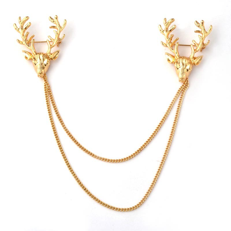 2016 Vintage Women Alloy Deer Head Brooch Collar Pin For Chirstmas Party Fashion Women Collar Lapel Pins Clothing Accessories(China (Mainland))