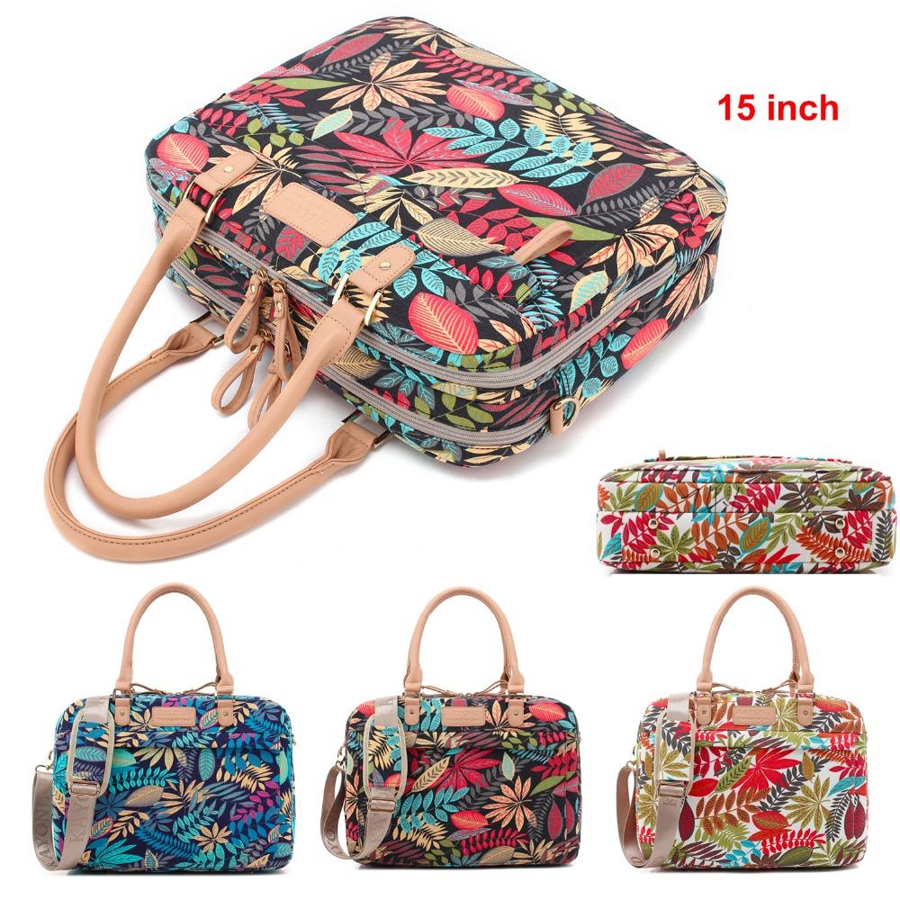 "2017 Hot Luxury Tropical Forest Print Women Shoulder Bag Handbag Canvas Multi-use Laptop Bag Computer Messenger With Belt 15""(China (Mainland))"