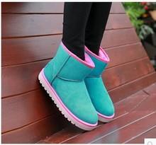 2016 mujeres calientes de la venta del tobillo caliente de la felpa corta señora Shoes invierno espesan cuero nobuck botas de nieve(China (Mainland))