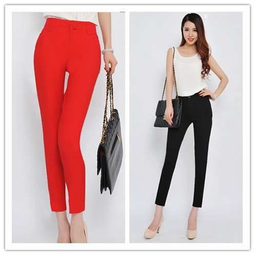 Size 26-37 Autumn Women Black Pants Large Size Suit Pant Pencil Pants summer Fashion Elegant Casual Trousers Ladies Work Pant(China (Mainland))
