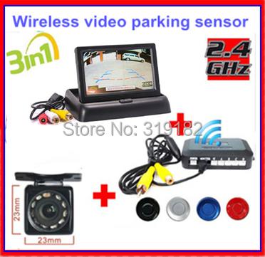 3.5inch TFT LCD Display Car Monitor 2ch video + IR Night Vision Rear View Backup Car Camera Wireless Parking video System Kit(China (Mainland))