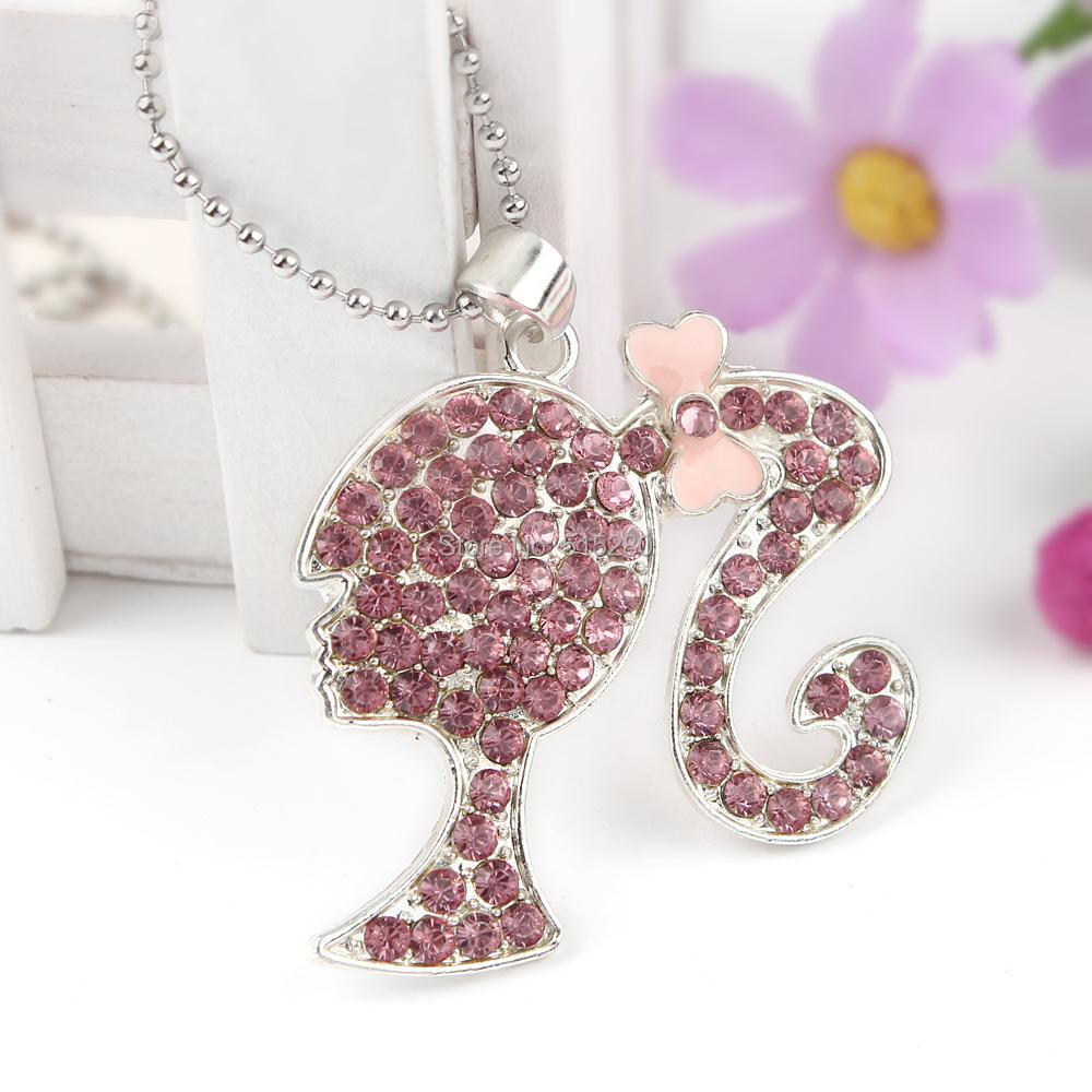 New 10Pcs/Lot Fashion Pretty Girl Pendant Toddler Necklace Handmade Jewelry Craft Wholesale(China (Mainland))