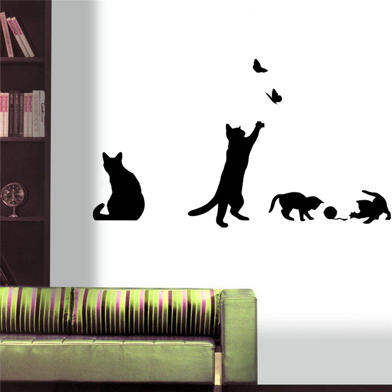 Playing cats wall sticker - Stickers para decorar paredes ...