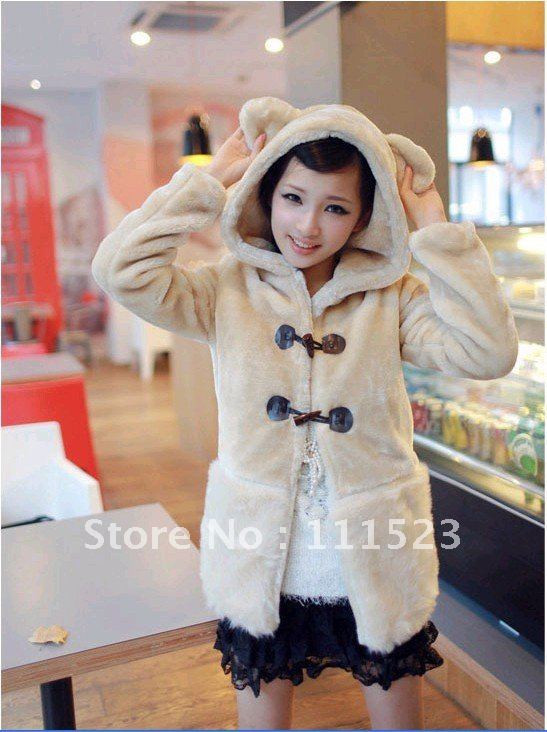 Free shipping Wholesale and retail New arrived Warm coat Bear wistiti Out wear Ladies' coat Model NO:M0701(China (Mainland))