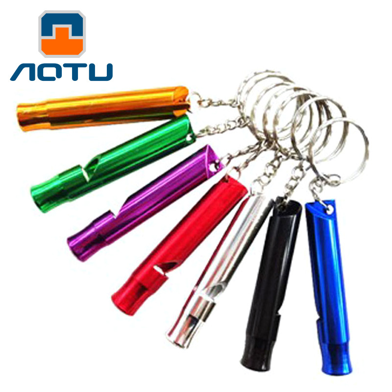 AOTU Aluminum Alloy Outdoor High Pitched Survival Whistle Camping Equipment Self Defense Survival Tool Travel Kit WD-IQB048(China (Mainland))