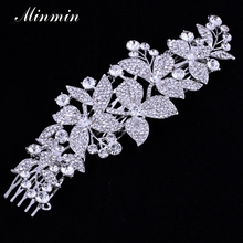 Minmin Floral Wedding Hair Accessories for Women Crystal Hair Combs Bridal Hairpins Hair Jewelry for Brides Tiara FS044(China (Mainland))