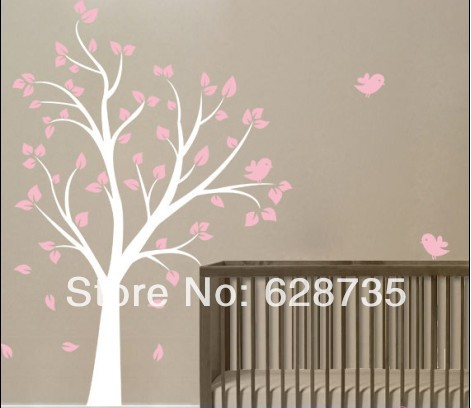 High quality 130 x180 cm Large Tree and birds Vinyl wall decal stickers for Baby girl Nursery room ,kids wall art decoration(China (Mainland))