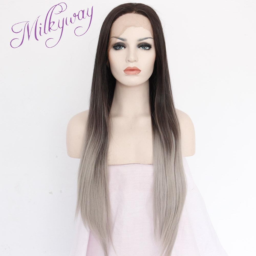 Здесь можно купить  Free shipping wavy Ombre brown and gray two tone Synthetic Lace Front Wig Glueless Heat Resistant Hair Women Wigs  Волосы и аксессуары