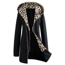 Fashion Women Autumn Winter Coat 2016 Long Sleeve Casual Leopard Hooded Zipper Sweatshirts Ladies Outwear Jacket casaco feminino(China (Mainland))