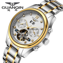 Original GUANQIN Watches Men Top Brand Luxury Automatic Mechanical Tourbillon Waterproof Commercial Men Watch Relogios Masculino