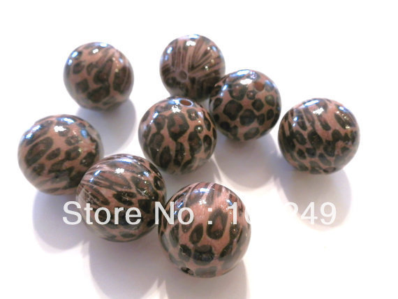 Free shipping 105 pieces chunky 20mm round acrylic brown leopard beads.High quality jewelry acrylic animal printed leopard beads(China (Mainland))