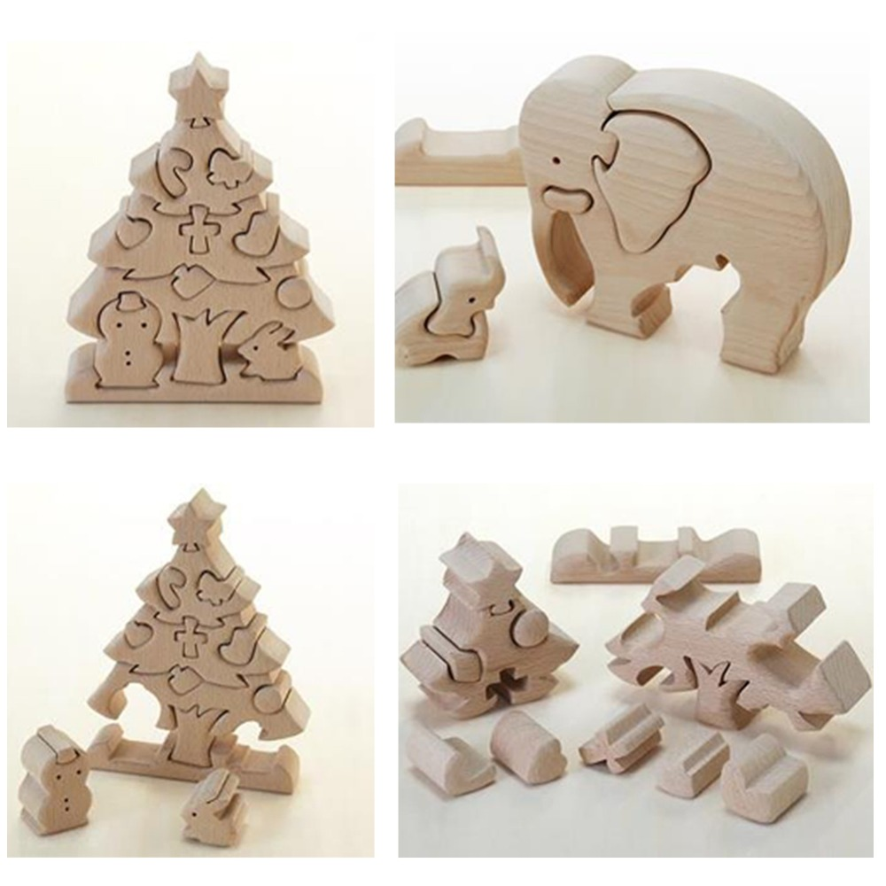 Beech Wooden 3D Puzzle Toys Christmas Tree&elephant Shape Eco-Friendly Waldorf Toy Creative Kid Gift Children Room Decor Charm(China (Mainland))