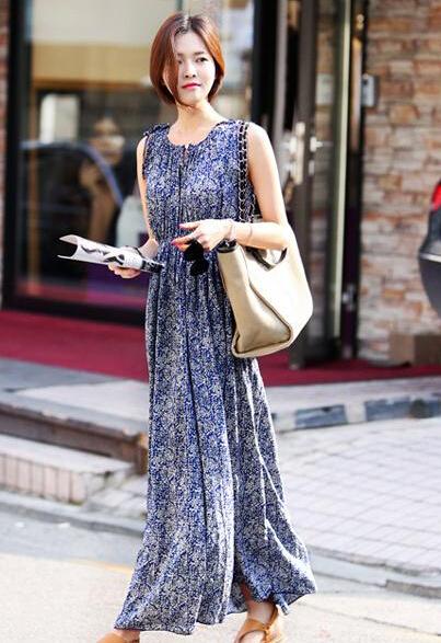 2016 summer new floral spun rayon silk dress sleeveless round collar beach Fashion sexy women's clothing, discount promotion(China (Mainland))