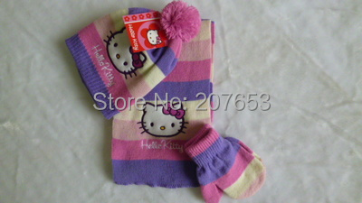 2015 winter newest free shipping 6sets /lot girls hello kitty knitted scarf+hat+glove 3pc set warm scarf ,hat and glove 0-3years(China (Mainland))