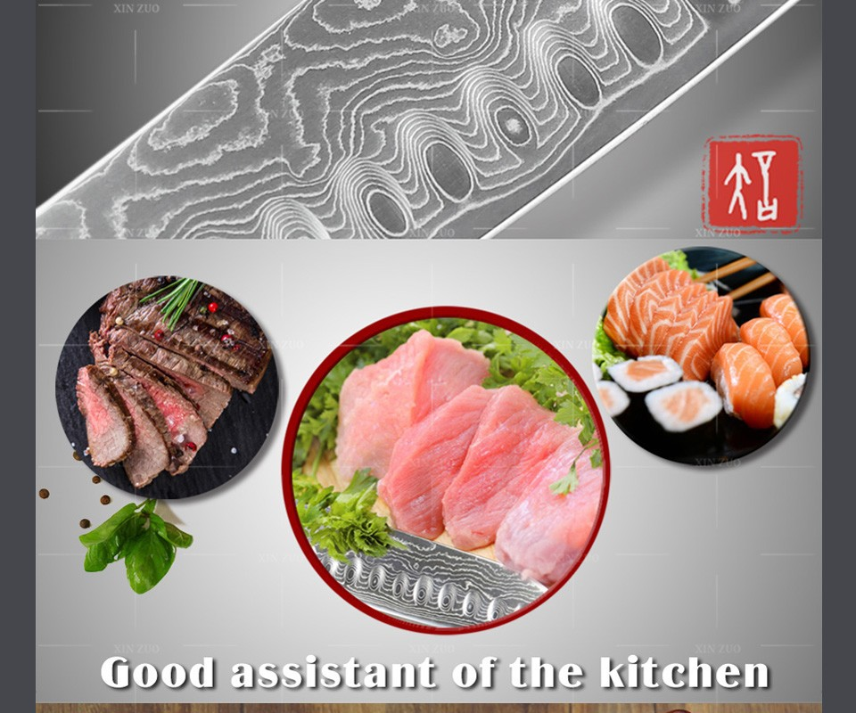 "Buy XINZUO 7"" santoku knife high quality fashion Japanese chef knife VG10 Damascus kitchen knife with wood handle free shipping cheap"