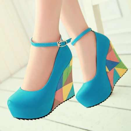 2014 New Gladiator Ankle Straps Women Pumps Sexy High Heels Colorful Wedges Spring Wedding Platform Shoes