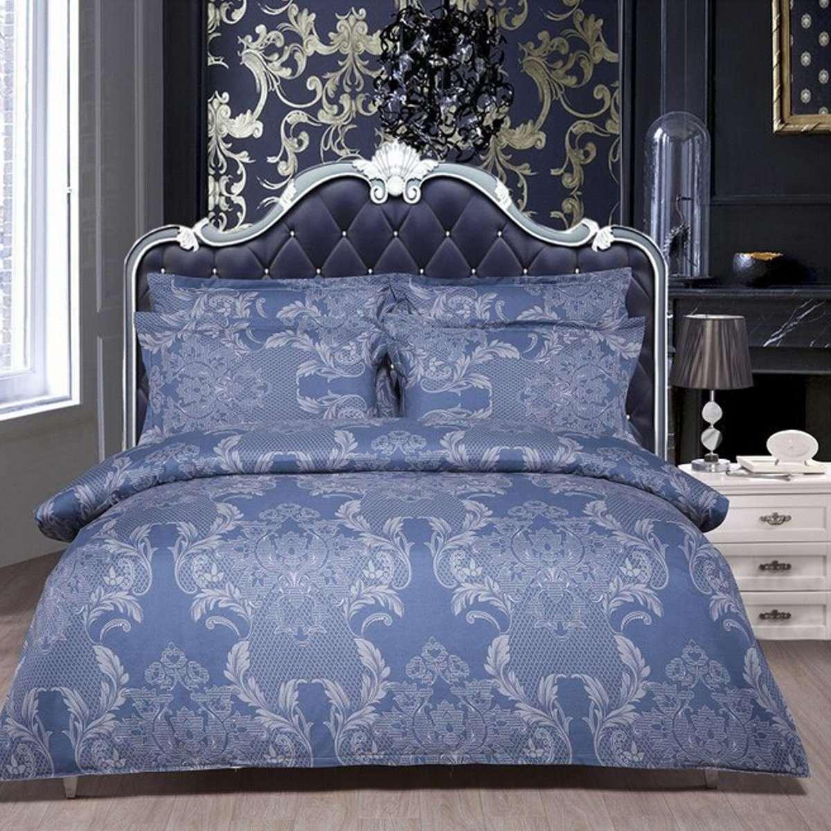 Luxury Vintage Pattern Blue Foral Print Bedding Sets Single Double King Size Polycotton Pillowcases Quilt Duvet Cover Bedsheet