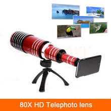 Buy High-end 3in1 80X Metal Zoom Telephoto Lens iPhone 4 4s 5 5s 6 6s 7 Plus Samsung Telescope Mobile Phone Camera Lenses kit for $189.99 in AliExpress store