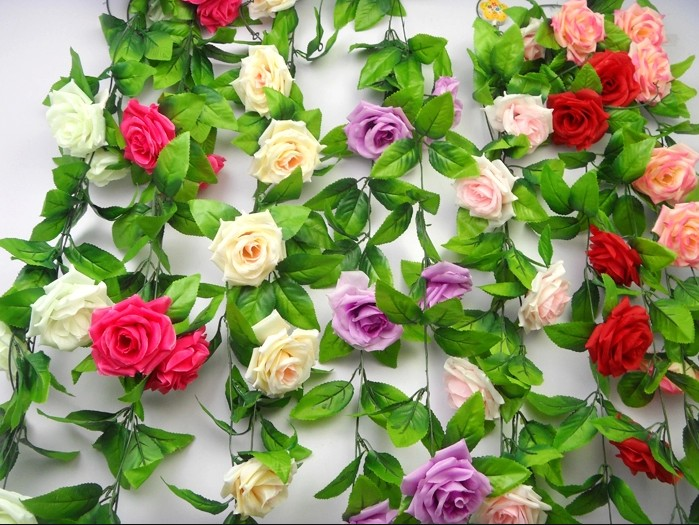 5.8 m 18 simulation blue rose plants Demon JiGuo holiday of holiday of rattan flower furniture decorative plastic flowers leaves(China (Mainland))