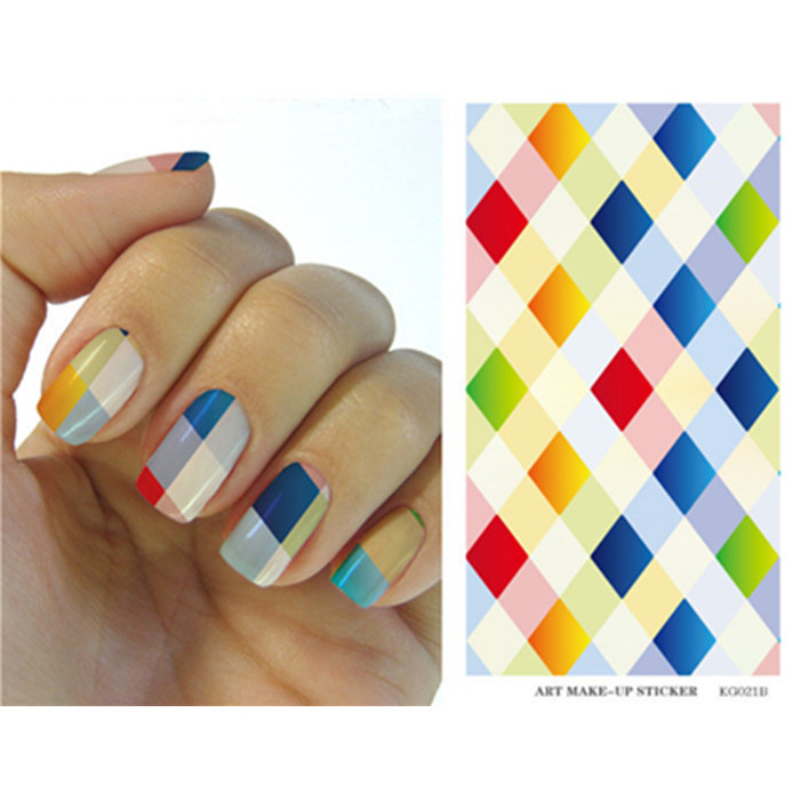 Water Transfer Foils Nail Art Sticker Plaid Color Rhombus Design 3D Nail Decals Manicure Decor Tools Full Nail stikers 021A(China (Mainland))