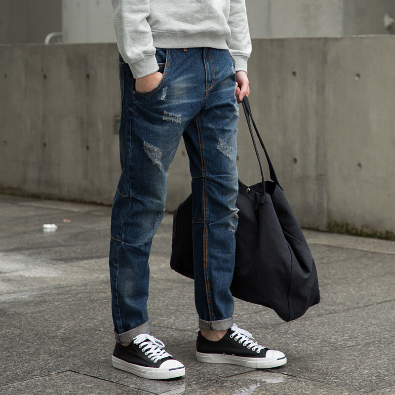 Фотография The cat claw mosaic 16 new original Japanese street old jeans slim pants male youth